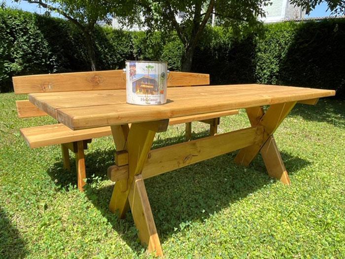 Naturalfarben Natural Holzlasur Eiche - Holztisch pflegen